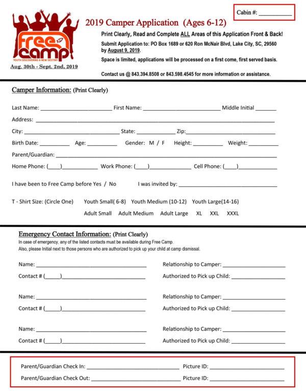 2019 Free Camp Kids Application 2